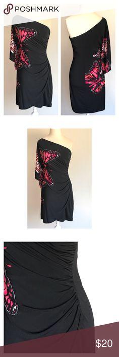 "Bisou Bisou butterfly dress Bisou Bisou one shoulder butterfly dress size 6. Dress seems to run small but is a body conscious dress. Underarm to underarm 16, waist 12-14"", length 34"". Measurements taken flat. Really vibrant butterflies. Bisou Bisou Dresses One Shoulder"