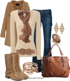 """Simple"" by amabiledesigns on Polyvore  Browns, Tans & Beiges with blue jeans"