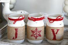 Rustic Farmhouse White & Red Christmas Decor - Joyful Christmas Decor –…