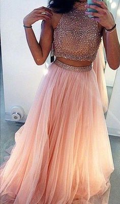 Sparkly Prom Dress, charming prom dress beading prom dress 2 pieces prom dress high neck prom dress tulle prom dress , These 2020 prom dresses include everything from sophisticated long prom gowns to short party dresses for prom. Prom Dresses Two Piece, Ball Dresses, Ball Gowns, Dress Long, Dress Formal, Evening Dresses, Formal Wear, Formal Prom, Prom Long