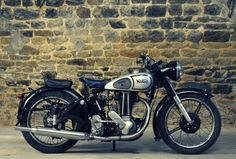 """A motorcycle for dad. 1948 Norton (even though """"Norton's and Indians and Greeves just won't do"""" this is a stunning vintage bike! Norton Bike, Norton Motorcycle, Women Motorcycle, Motorcycle Helmets, Antique Motorcycles, British Motorcycles, Vintage Bikes, Vintage Cars, Motos Retro"""