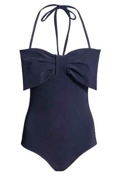 Bandeau-style swimsuit in thick fabric. Large, decorative bow at front, detachable ties at neck, and silicone trim inside upper edge. One Piece Swimwear, One Piece Swimsuit, Bow Bandeau, Bandeau Swimsuit, Cute Swimsuits, Cotton Dresses, Bathing Suits, Fashion Online, Summer Outfits