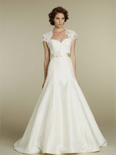 Chic Lace Strapless Sweetheart Floral A-line Wedding Dress with Keyhole Bolero Jacket