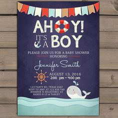 Nautical Baby Shower Invitation Ahoy Itu0027s A Boy Shower Invitation Whale Baby  Shower Invite Navy Red Anchor Baby Shower Digital PRINTABLE DIY