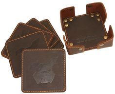 DamnDog Leather Coaster Set at LuckyParker. Leather Coasters, Leather Rivets, 6 Packs, Leather Working, Coaster Set, Gentleman, Artisan, Hipster, Bows