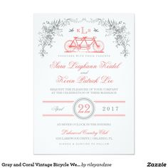 Gray and Coral Vintage Bicycle Weddin - Customized Card