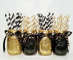 Mason Jar Centerpiece, Wedding Centerpiece, Graduation Party Decorations, Black and Gold Decor, Birthday Party, Wedding Decor, Set of 4