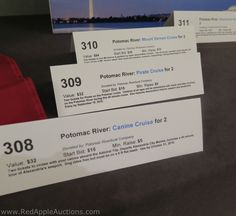 I'd not seen this type of silent auction display before. Mini tent cards. This was at a mobile bidding event.