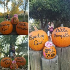 Expecting our little pumpkin due date announcement: halloween pregnancy announcement idea