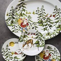 Vintage Holiday Plates, Set of Deer Christmas Tree Napkin Fold, Christmas Salad Plates, Christmas China, Christmas Dishes, Christmas Kitchen, Christmas 2016, Christmas Table Settings, Christmas Tablescapes, Christmas Decorations