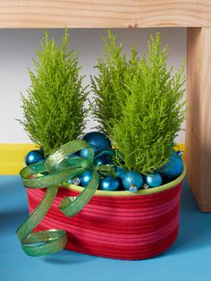 Fill a festive rope basket with miniature holiday greens.