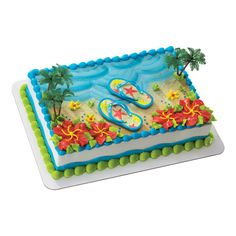 Summer Flip Flops cake from Publix, will be birthday cake for Stacy & Emma's big day! Fun Luau theme!!