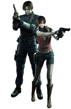 View an image titled 'Leon & Claire Art' in our Resident Evil: The Darkside Chronicles art gallery featuring official character designs, concept art, and promo pictures. Resident Evil Costume, Resident Evil Video Game, Resident Evil Game, Videogames, Albert Wesker, Leon S Kennedy, Apocalypse Art, Evil Art, Beautiful Fantasy Art