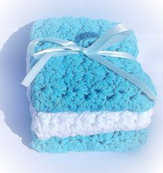 Wash Cloths trio 100% cotton by woolhousecasalana on Etsy
