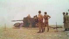 Cañón antiaéreo de 35/90 mm Oerlikon.En 1974 había 12 piezas en el Sáhara,las más modiernas del ejército español.