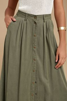 My Squad Olive Green Maxi Skirt 5