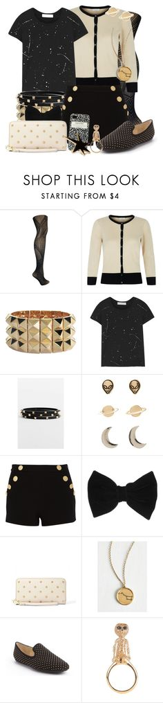 """""""The Shattered Medallion"""" by detectiveworkisalwaysinstyle ❤ liked on Polyvore featuring Betsey Johnson, Hobbs, Noir Jewelry, Kain, Cara, Boutique Moschino, claire's, Jimmy Choo, Kate Spade and Forever 21"""
