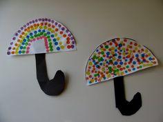 polka dots, weather unit, bingo, umbrella art, rainbow, rainy day activities, child art, painting crafts, rainy day crafts