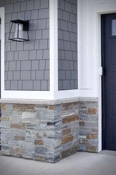 Barnwood Blue Ashlar Veneer Stone Home - Full & Thin Stone Veneer - Buechel Stone Masonry Get inspired by this Barnwood Blue Ashlar veneer stone home with shadowy natural blue stone veneer for the facade. Stone Exterior Houses, House Paint Exterior, Exterior House Colors, Stone Houses, Exterior Design, Blue House Exteriors, Exterior Paint Colors For House With Stone, White Siding House, Stone Veneer Exterior
