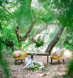 Bohemian tablescape in the woods