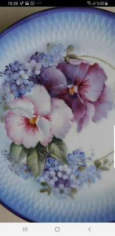 Watercolor Paintings For Beginners, One Stroke Painting, China Painting, Vintage Dishes, Violets, China Porcelain, Fine China, Dresden, Pansies