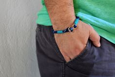 Men's nautical bracelet with silver anchor various by Beh1ndByMK
