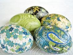 Teal Origami Decoupage Easter Eggs