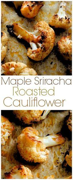 Roasted Cauliflower Maple Sriracha Roasted Cauliflower - my favorite way to eat cauliflower! Sweet, spicy, and SO delicious!Maple Sriracha Roasted Cauliflower - my favorite way to eat cauliflower! Sweet, spicy, and SO delicious! Vegetable Recipes, Vegetarian Recipes, Cooking Recipes, Healthy Recipes, Sriracha Recipes, Veggie Side Dishes, Vegetable Dishes, Cuisine Diverse, Roasted Cauliflower
