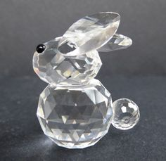 Swarovski Silver Crystal Baby Bunny Rabbit Figurine Crossed Ears 1976-1988 Vtg #Swarovski