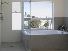 shower next to bathtub and window over tub