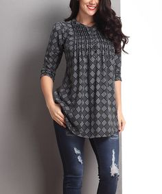 Look what I found on #zulily! Black Diamond Plaid Notch Neck Pin Tuck Tunic - Plus #zulilyfinds