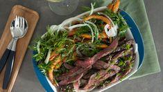 Oksefilet med ovnsbakte gulrøtter Frisk, Food Inspiration, Asparagus, Grilling, Beef, Vegetables, Meat, Vegetable Recipes, Ox