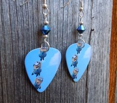 Chain of Minions Guitar Pick Earrings with Blue Crystals by ItsYourPick on Etsy