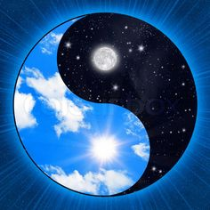 ying yang | Stock image of 'Yin yang symbol wigh clouds and stars'- for Donna