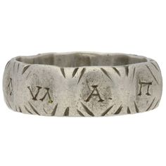 Ancient Roman Silver military ring, solid silver engraved around the full circumference with the Ancient Greek letters 'VΛ A П V P M H Λ Ο', each letter spaced between a double chevron, to a broad smoothly conforming faceted band, approximately 8mm in width. Tested silver, approximately 9.6g in weight, circa 3rd-4th century AD. Engraved Jewelry, Engraved Rings, Roman Jewelry, Jewelry Rings, Initial Jewelry, Initial Rings, Ancient Rome, Ancient Greek, Classical Antiquity