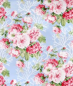 P/&B Summer Fun Floral Bouquet on Dark Pink Cotton YARD Calico Fabric