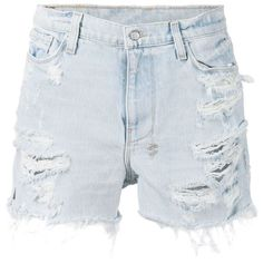 Ksubi Distressed Denim Shorts ($189) ❤ liked on Polyvore featuring shorts, bottoms, short, blue, pants, ksubi, blue shorts, distressed denim shorts, ksubi shorts and short shorts