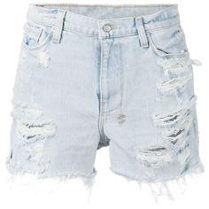 Ksubi distressed denim shorts (930 BRL) ❤ liked on Polyvore featuring shorts, bottoms, short, blue, ksubi shorts, ksubi, short shorts, blue short shorts and blue shorts