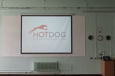 A school projector and screen installation