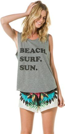 Beach. Surf. Sun. Enough said. @SWELL Style Style http://www.swell.com/Womens-Tanks/SWELL-BEACH-SURF-SUN-MUSCLE-TANK?cs=CH