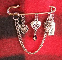 Your place to buy and sell all things handmade Safety Pin Crafts, Safety Pin Jewelry, Safety Pins, Scarf Jewelry, Beaded Jewelry, Steam Punk Jewelry, Kilt Pin, Beaded Bags, Brooch Pin