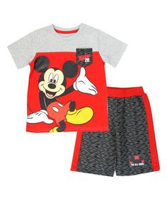 7995beef219 Red  amp  Gray Mickey Mouse Tee  amp