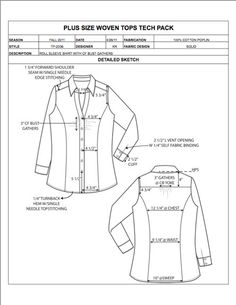 Plus Size Design Detail Sheet Sample - Womens, Mens, Childrens & Plus Size Apparel Tech Pack Templates in Excel format - only $29.95! #fashiondesign #techdesign #techpack #specsheet