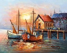 Paintings of Boats in Harbor | Old Spanish Harbor - Boats, oil paintings on canvas.