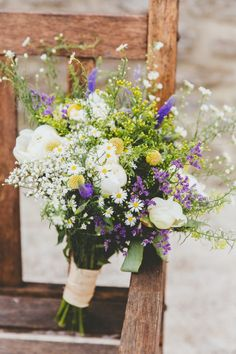Wild Flowers Bouquet Bride Bridal White Yellow Purple Daisies Relaxed Fun Rustic Countryside Barn Wedding www. Purple Wedding Bouquets, Bridal Flowers, Bride Bouquets, Flower Bouquet Wedding, Floral Wedding, Wildflower Wedding Bouquets, Yellow Purple Wedding, Wildflowers Wedding, June Wedding Flowers
