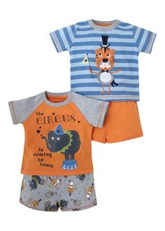 Boys 2 Pack Printed Pyjama Set