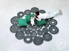 big scale handmade MODULAR crochet rug, ENTRE collection - design N 022, born September 2013, by the hands of ARTSPAZIOS