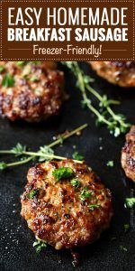 Homemade Maple Breakfast Sausage - These breakfast sausage patties are made with a combo of ground turkey and pork, savory herbs, and sweet maple syrup. The mouthwatering combo gives way to a low calorie homemade version of your favorite breakfast food! Breakfast Sausage Seasoning, Sausage Spices, Turkey Breakfast Sausage, Homemade Breakfast Sausage, Chicken Breakfast, Breakfast Sausages, Breakfast Healthy, Breakfast Ideas, Homemade Turkey Sausage