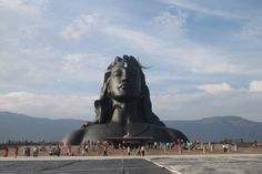 Shiva Adiyogi Statue at Isha Yoga Center, Coimbatore, Tamil Nadu, India 2017 Largest Bust Sculpture by Guinness World Records Coimbatore, Isha Yoga, Forest Department, Sculpture Stand, Lord Shiva Family, Shiva Statue, Picnic Spot, Guinness World, Pilgrimage