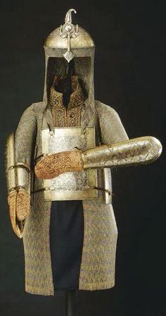 Indian armor, 18th centuy, khula-khud (helmet), char-aina (chahar-aina, chahar a'ineh), literally the four mirrors, chest armor with four plates, dastanas/bazu band (vambrace/arm guards), zirah (mail shirt).